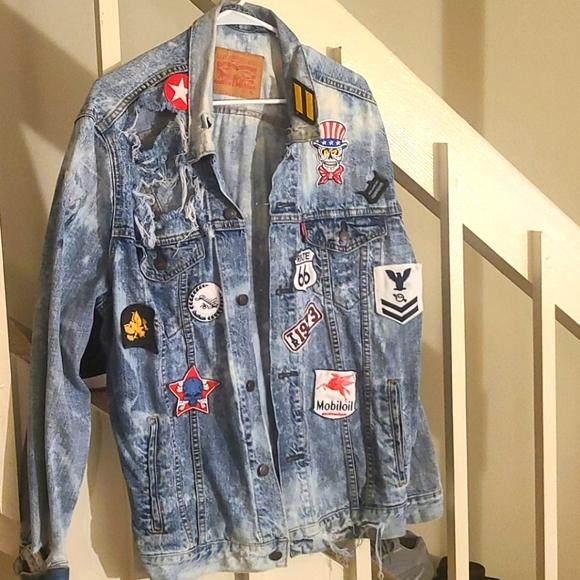 Custom Levi military patch denim jacket